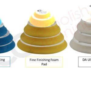 D-A SCHWÄMME BIGFOOT POLIERSCHWÄMME RUPES führt neue Schwammpolierpads mit völlig neuen Materialien und Profilen ein. Unsere neuen D-A-Schaumstoffpads ergänzen, genau wie die entsprechenden Polituren, die aktuelle Schaumstoffpads Serie für freilaufende und zwangsexzenter Polierern. Die neuen eigenen Schaumformeln und das neue Pad-Profil wurden ausgiebig getestet, um eine hervorragende Leistung und ein verbessertes Benutzererlebnis bei allen BigFootExzenterpoliersystemen zu erzielen. Dank des neuen Kontur-Profiles ist es einfacher, diese komplexen und schwer zugänglichen Bereiche zu polieren, ohne dass die Gefahr besteht, dass die Oberfläche mit der Kante des Stütztellers berührt wird. Das untere Profil wurde speziell entwickelt, um die Übertragung der mechanischen Bewegungen des freilaufenden- und zwangsexzenter Polierers auf die Arbeitsfläche zu maximieren. Darüber hinaus bietet es eine hervorragende Benutzererfahrung, indem der Gesamtabstand von der Oberfläche verringert wird, die Stabilität und Kontrolle während aller Phasen des Polierprozesses verbessert wird und außerdem die Verformung der Schwämme verringert wird, die hauptsächlich durch die Bewegung des Zwangsexzenter-Polierers und die Drehmomentabgabe verursacht wird. Änderungen NEUE KONTUR REDUZIERTE SCHWAMMHÖHE Das D-A COARSE-Schaumstoffpad ist das aggressivste im BigFoot-Sortiment. Es wurde speziell für die Verwendung mit freilaufenden und zwangsexzenter Poliermaschinen entwickelt. Das einzigartige offen-zellige Schaumstoffmaterial entfernt in Kombination mit der RUPES D-A COARSE-Politur leichte bis schwere Defekte aus den meisten Lacken. HIGH PERFORMANCE COARSE CUTTING FOAM PAD HIGH PERFORMANCE FINE FINISHING FOAM PAD Die D-A FINE-Schwämme sind die vielseitigste Pads der RUPES BigFoot-Reihe und bieten eine effektive Fehlerbeseitigungsrate und die Fähigkeit eines Hochglanz-Finish bei den meisten Lacksystemen. Kombinieren Sie es mit RUPES D-A FINE Polierpaste, um mäßige bis feine Fehler zu entfernen, die F