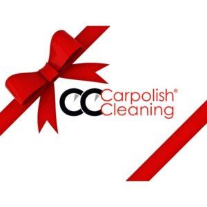Symbolabbildung eines Gutscheins mit Schleife, Firmenlogo von Carpolish and Cleaning in der Mitte