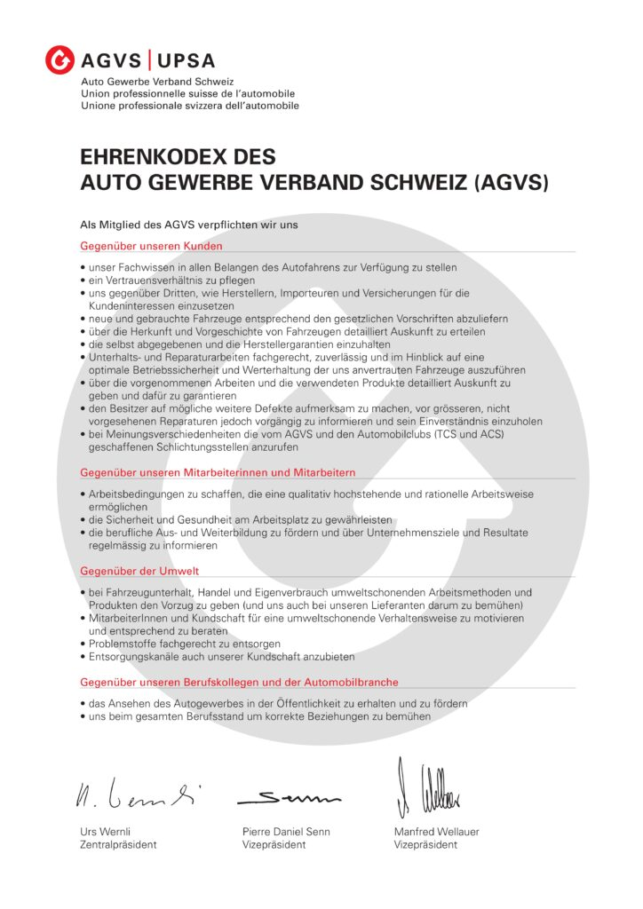 Bild eines Dokuments mit dem Ehrenkodex